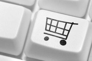 The button for purchases on the keyboard. Online shop.